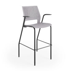 lumin stool sterling shell black frame arms 3qtr front Thumbnail