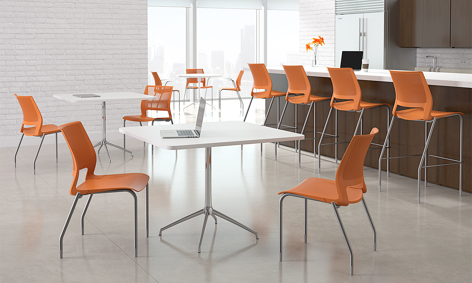 lumin carotene silver frame armless cafe stool environment