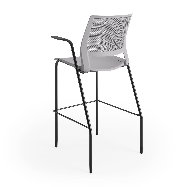 lumin stool sterling shell black frame arms 3qtr back
