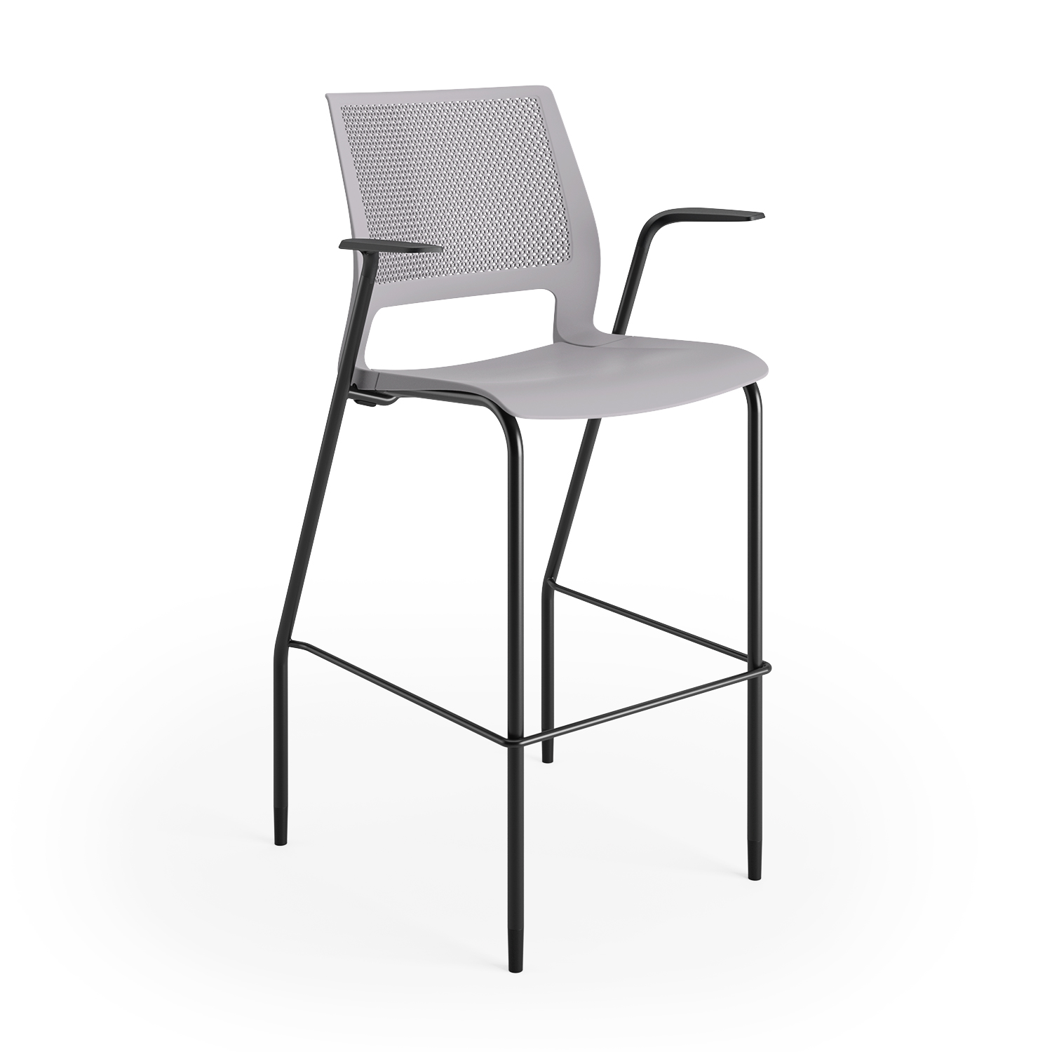 lumin stool sterling shell black frame arms 3qtr front